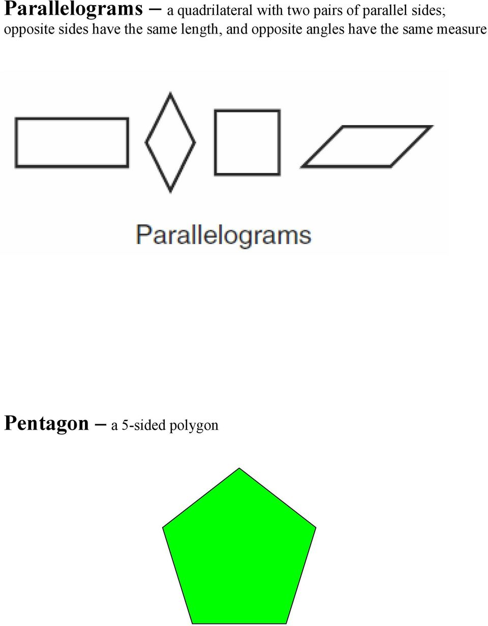 have the same length, and opposite angles
