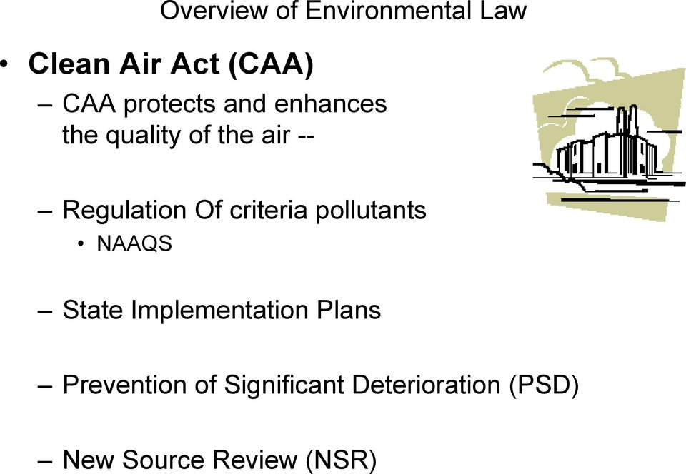 Of criteria pollutants NAAQS State Implementation Plans