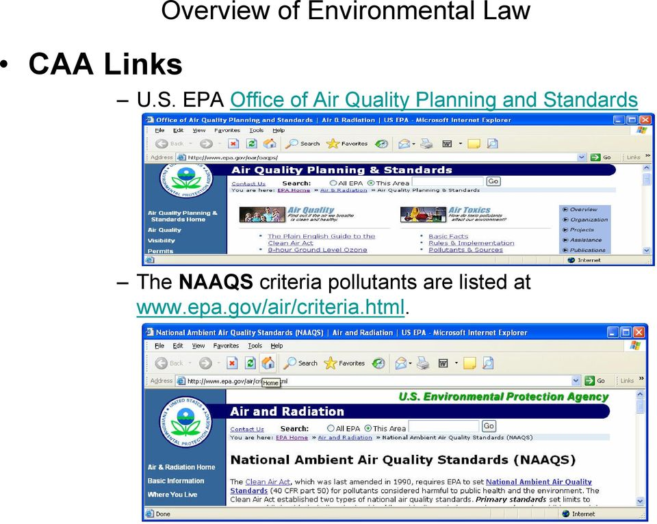 Standards The NAAQS criteria pollutants