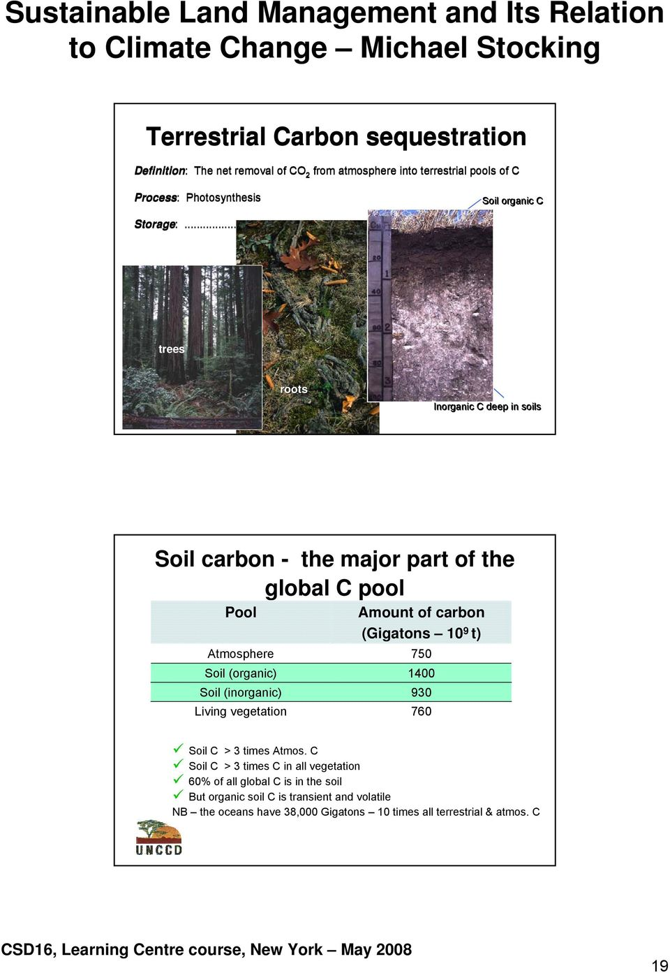 .. trees roots Inorganic C deep in soils Soil carbon - the major part of the global C pool Pool Atmosphere Soil (organic) Soil (inorganic) Living