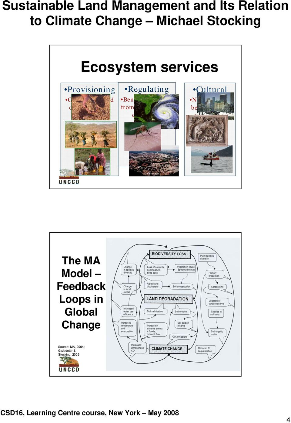 processes Cultural Non-material benefits from ecosystems The MA Model