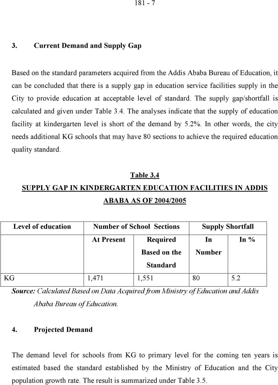 in the City to provide education at acceptable level of standard. The supply gap/shortfall is calculated and given under Table 3.4.