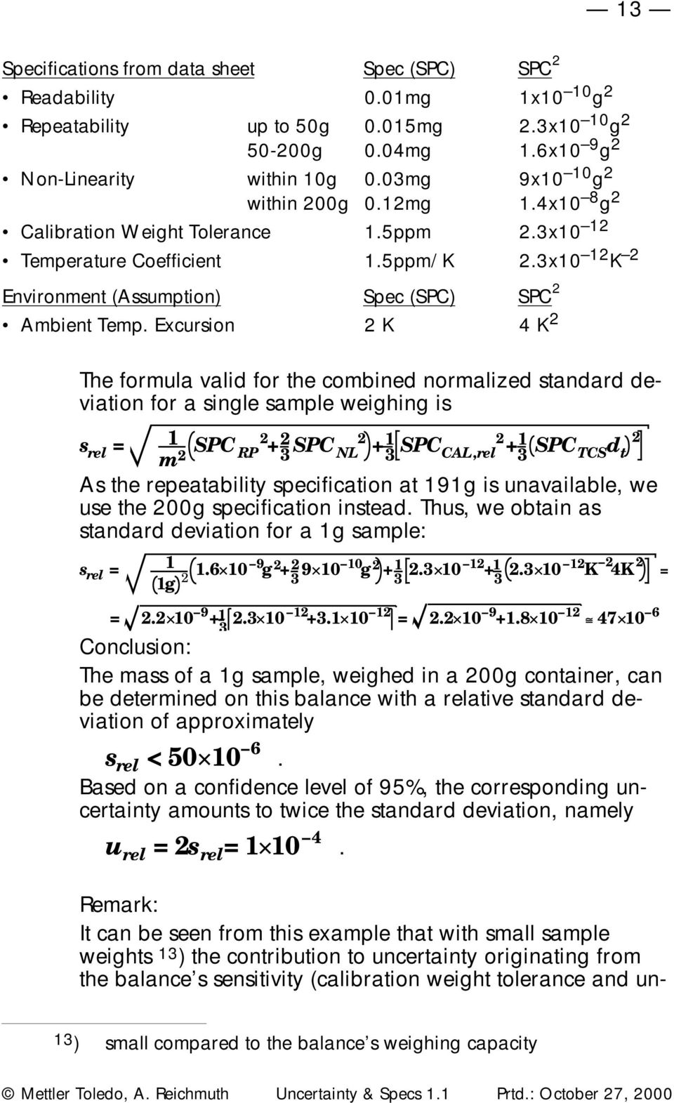 Excursion K 4 K The formula valid for the combined normalized standard deviation for a single sample weighing is s rel = 1 m SPC RP + 3 SPC NL + 3 1 SPC CAL,rel + 3 1 SPC TCS d t As the repeatability