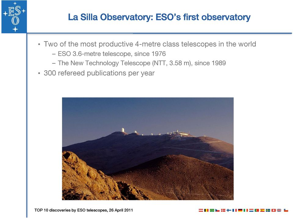 3.6-metre telescope, since 1976 The New Technology