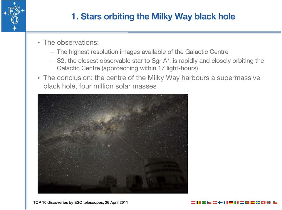 rapidly and closely orbiting the Galactic Centre (approaching within 17 light-hours) The