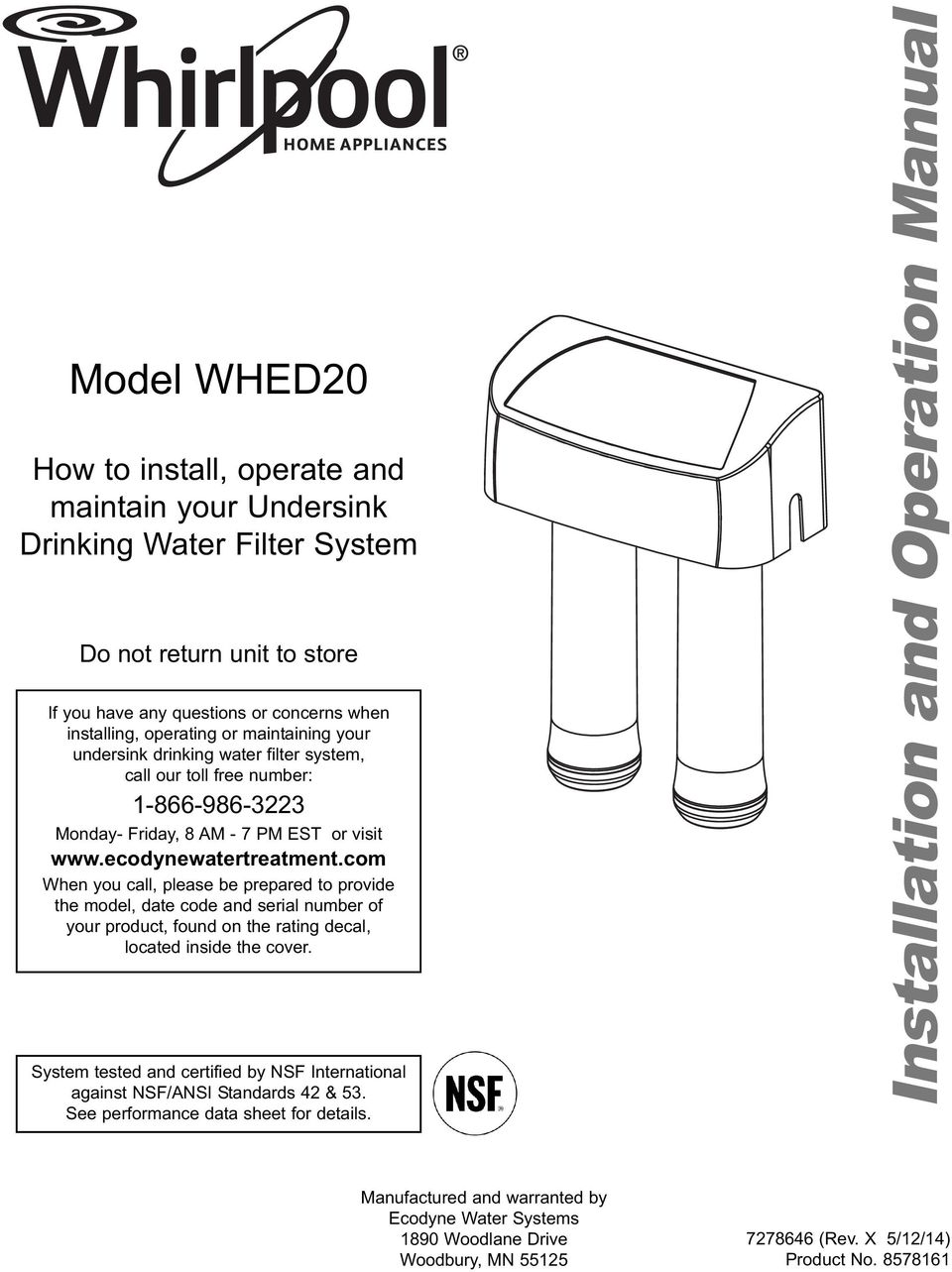 com When you call, please be prepared to provide the model, date code and serial number of your product, found on the rating decal, located inside the cover.