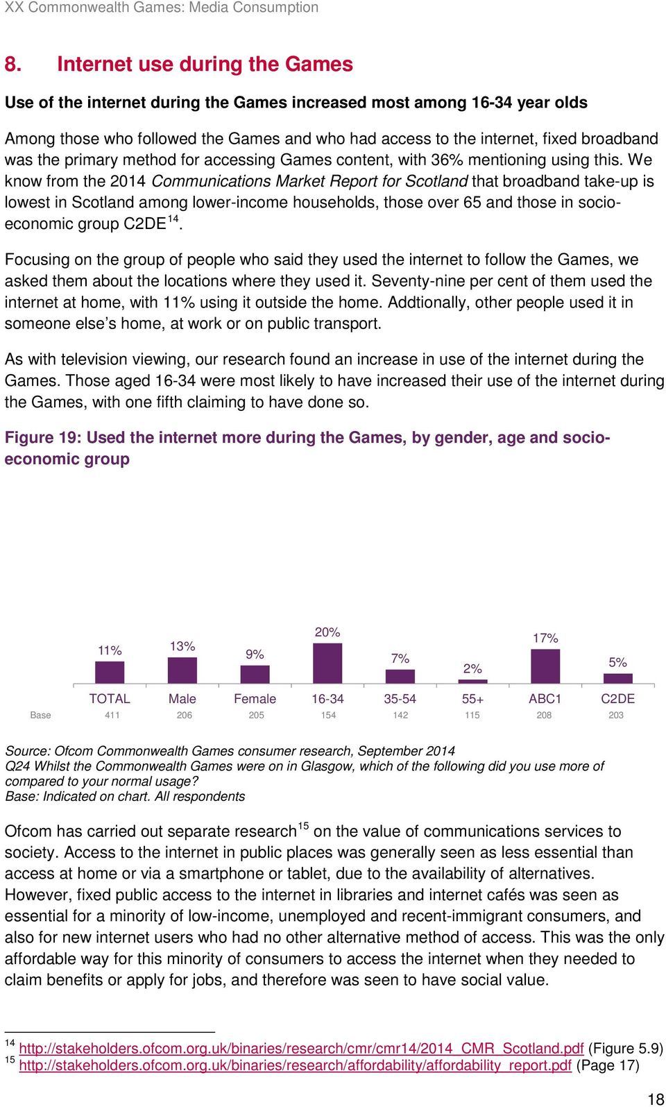 We know from the 2014 Communications Market Report for Scotland that broadband take-up is lowest in Scotland among lower-income households, those over 65 and those in socioeconomic group C2DE 14.