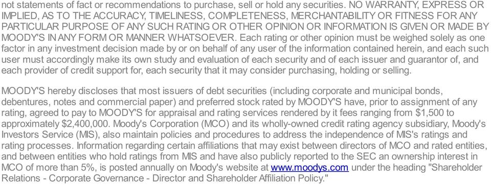 MADE BY MOODY'S IN ANY FORM OR MANNER WHATSOEVER.