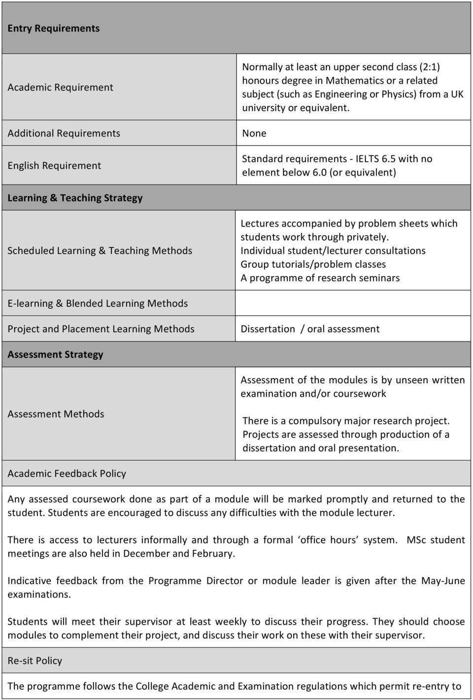 0 (or equivalent) Learning & Teaching Strategy Scheduled Learning & Teaching Methods Lectures accompanied by problem sheets which students work through privately.