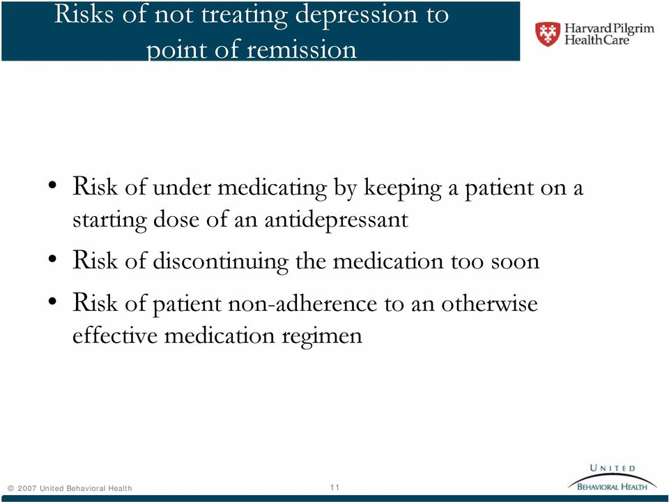 Risk of discontinuing the medication too soon Risk of patient