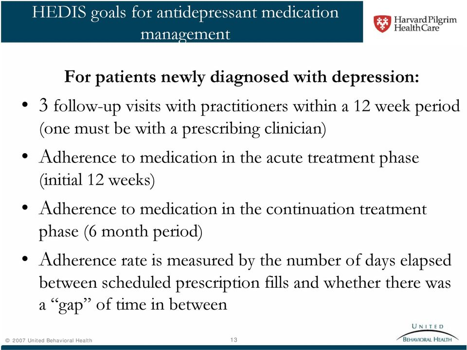 phase (initial 12 weeks) Adherence to medication in the continuation treatment phase (6 month period) Adherence rate is measured by