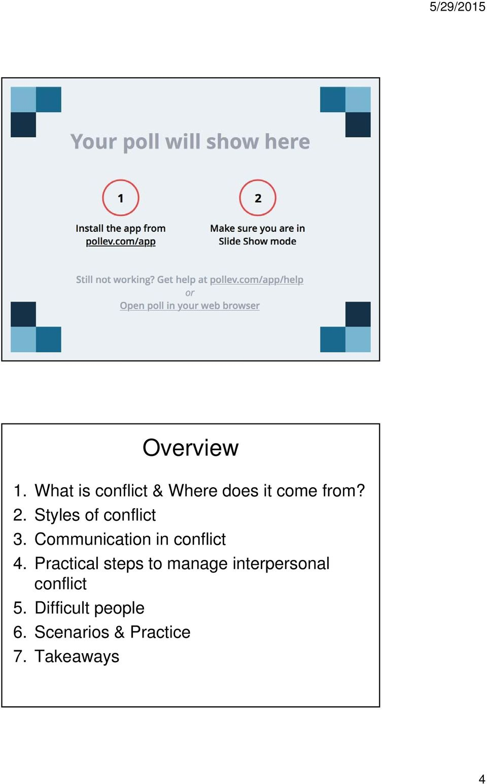 Practical steps to manage interpersonal conflict 5.