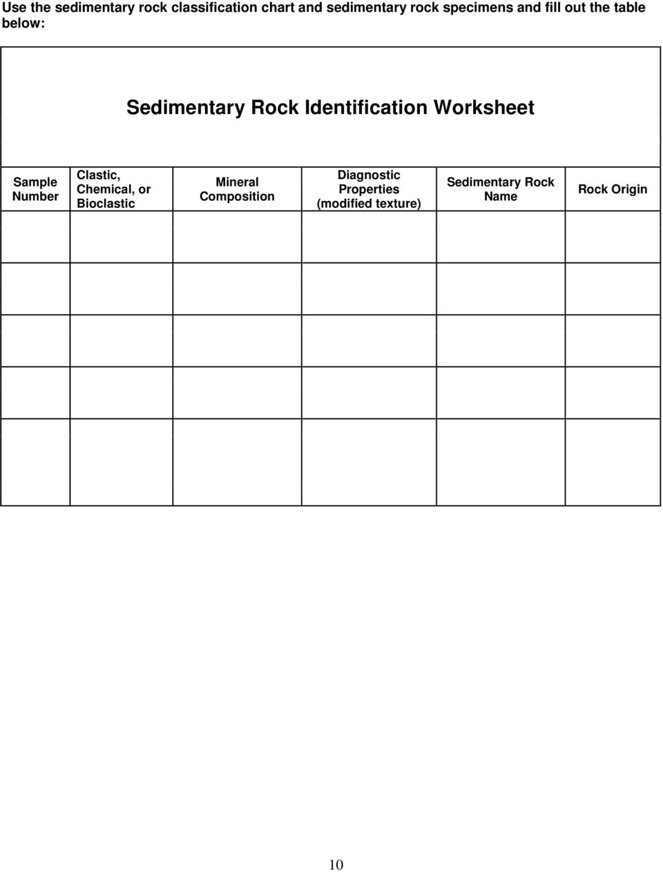 Worksheet Sample Number Clastic, Chemical, or Bioclastic Mineral