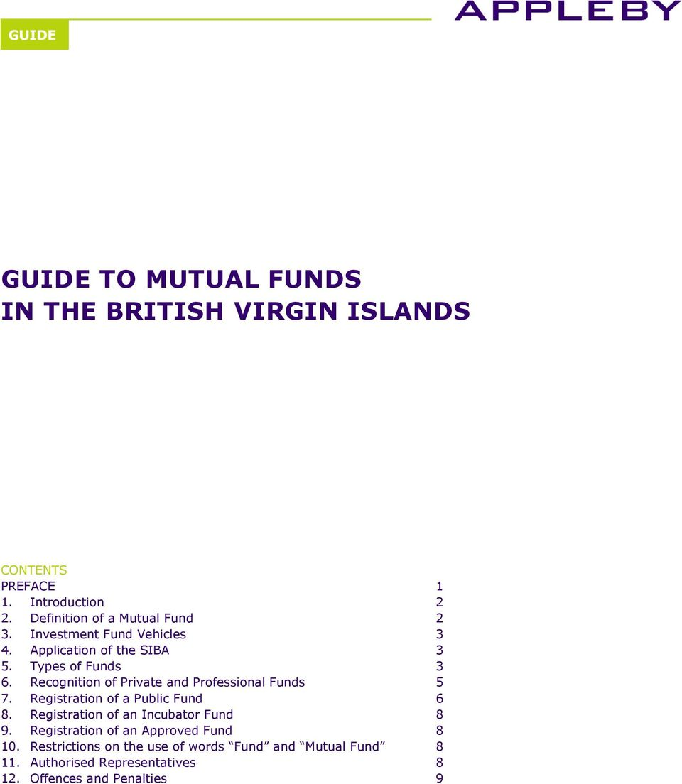 Recognition of Private and Professional Funds 5 7. Registration of a Public Fund 6 8.
