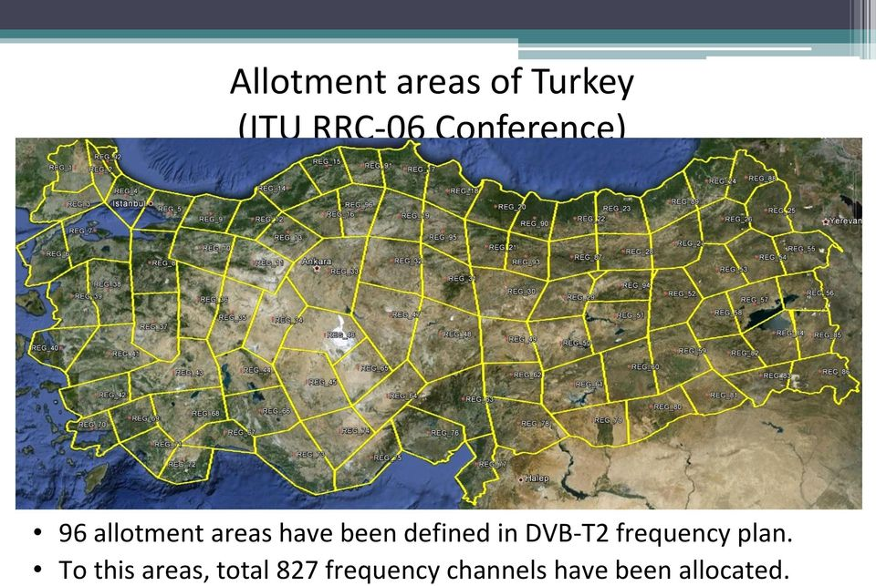 defined in DVB-T2 frequency plan.