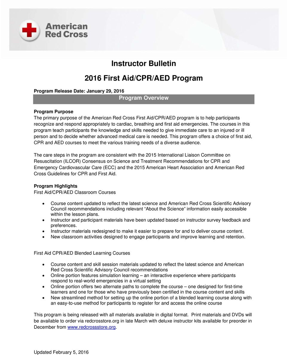 Instructor bulletin first aidcpraed program pdf the courses in this program teach participants the knowledge and skills needed to give immediate care 1betcityfo Gallery