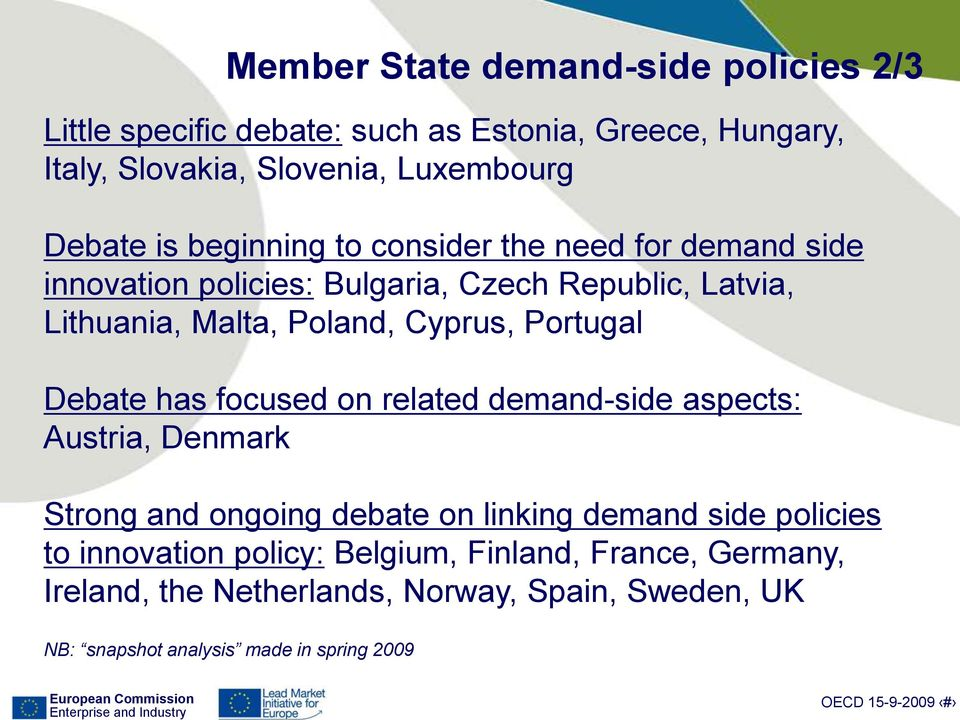 Portugal Debate has focused on related demand-side aspects: Austria, Denmark Strong and ongoing debate on linking demand side policies to