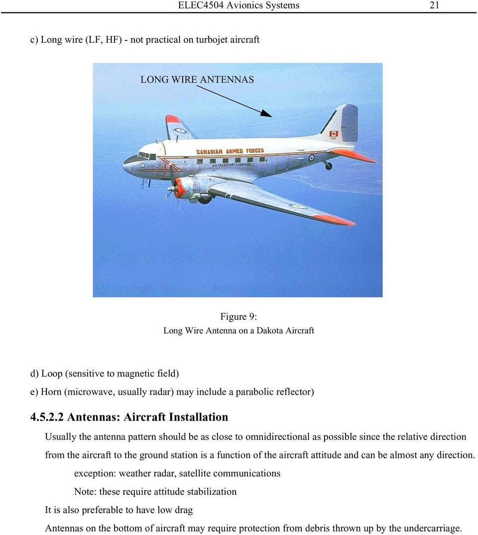 2 Antennas: Aircraft Installation Usually the antenna pattern should be as close to omnidirectional as possible since the relative direction from the aircraft to the ground station is a