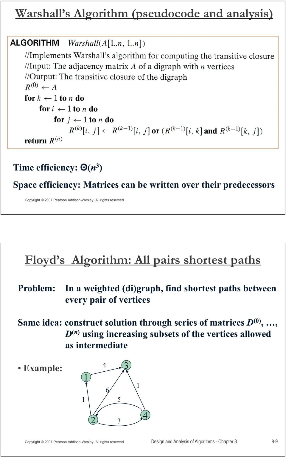 paths between every pair of vertices Same idea: construct solution through series of matrices D (0),, D (n) using