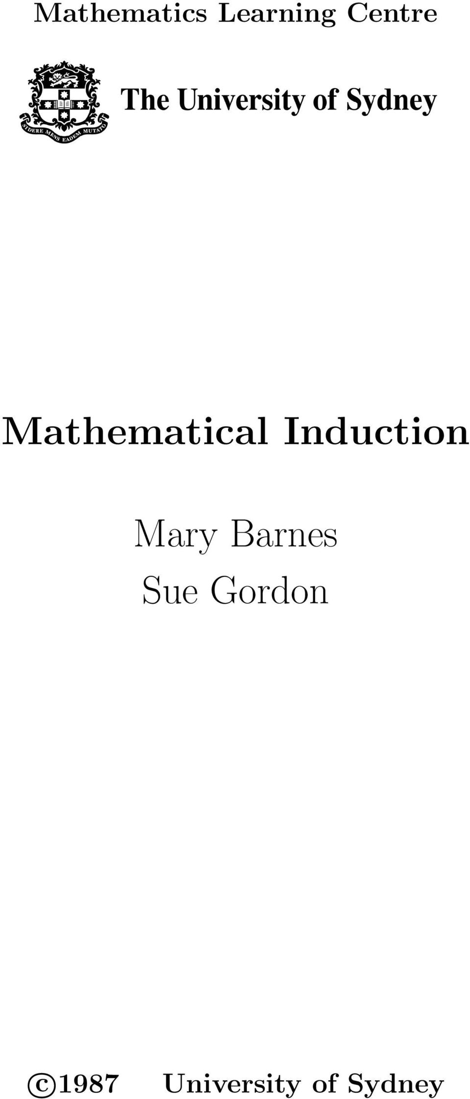 Induction Mary Barnes Sue