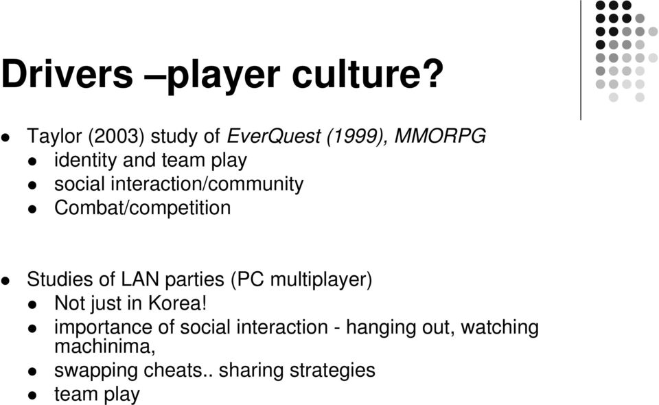 interaction/community Combat/competition Studies of LAN parties (PC