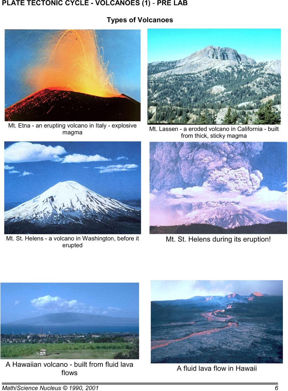 Lassen - a eroded volcano in California - built from thick, sticky magma Mt. St.