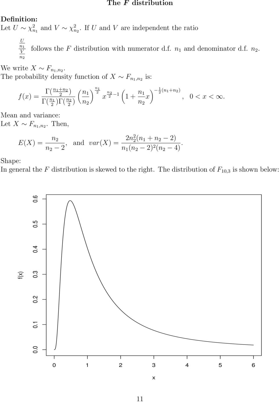 The probability desity fuctio of X F 1, f(x) = Γ( 1+ ) Γ( 1 )Γ( Mea ad variace: Let X F 1,.
