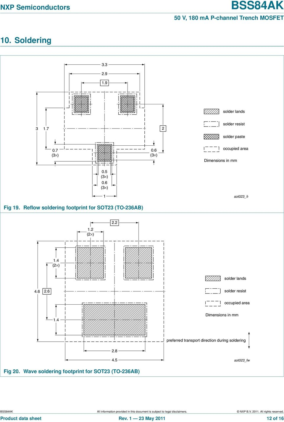 6 solder resist occupied area 1.4 Dimensions in mm preferred transport direction during soldering 2.8 4.5 sot23_fw Fig 2.