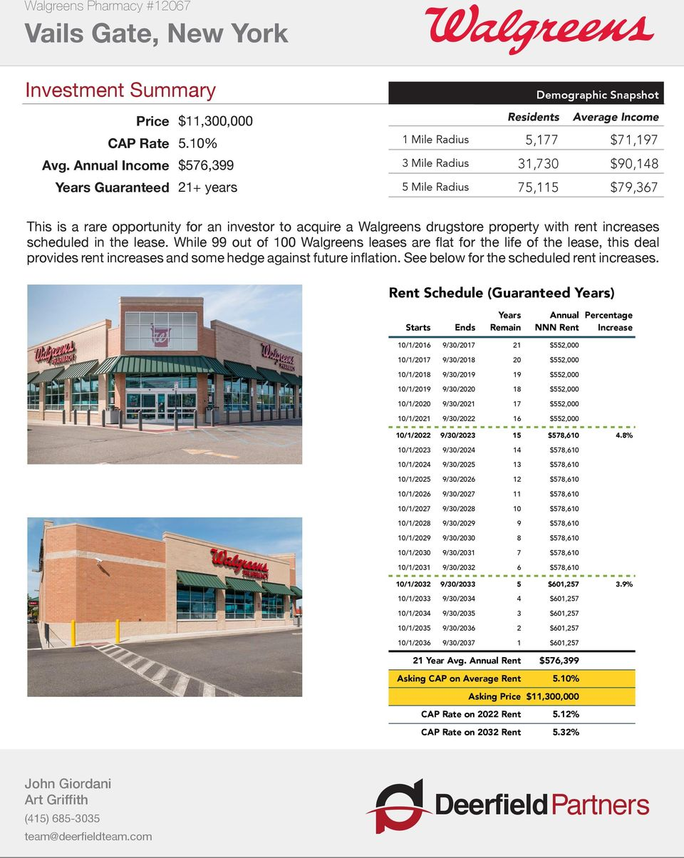 opportunity for an investor to acquire a Walgreens drugstore property with rent increases scheduled in the lease.