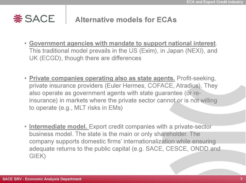 Profit-seeking, private insurance providers (Euler Hermes, COFACE, Atradius).