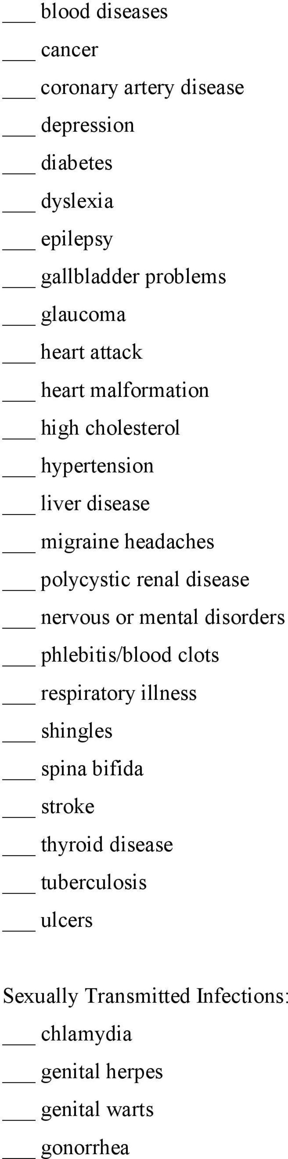 polycystic renal disease nervous or mental disorders phlebitis/blood clots respiratory illness shingles spina