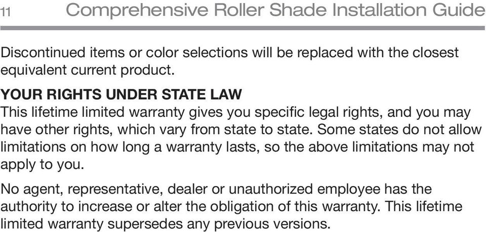 Some states do not allow limitations on how long a warranty lasts, so the above limitations may not apply to you.