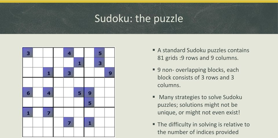 Many strategies to solve Sudoku puzzles; solutions might not be unique, or might