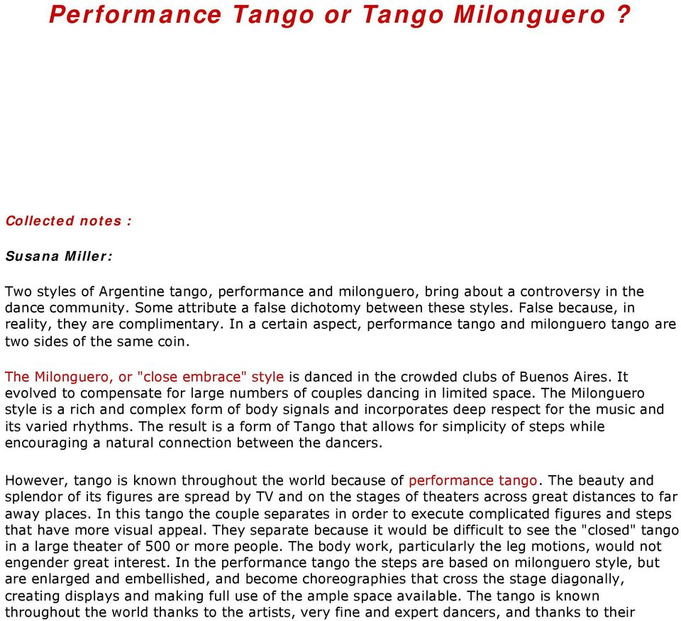 Performance Tango Or Milonguero Pdf Argentine Steps Diagram Dance Figures The Close Embrace Style Is Danced In Crowded Clubs Of
