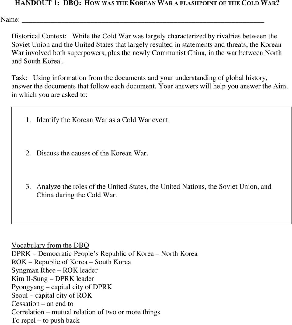 dbq 20 the cold war begins essay Essays - largest database of quality sample essays and research papers on dbq 20 cold war.