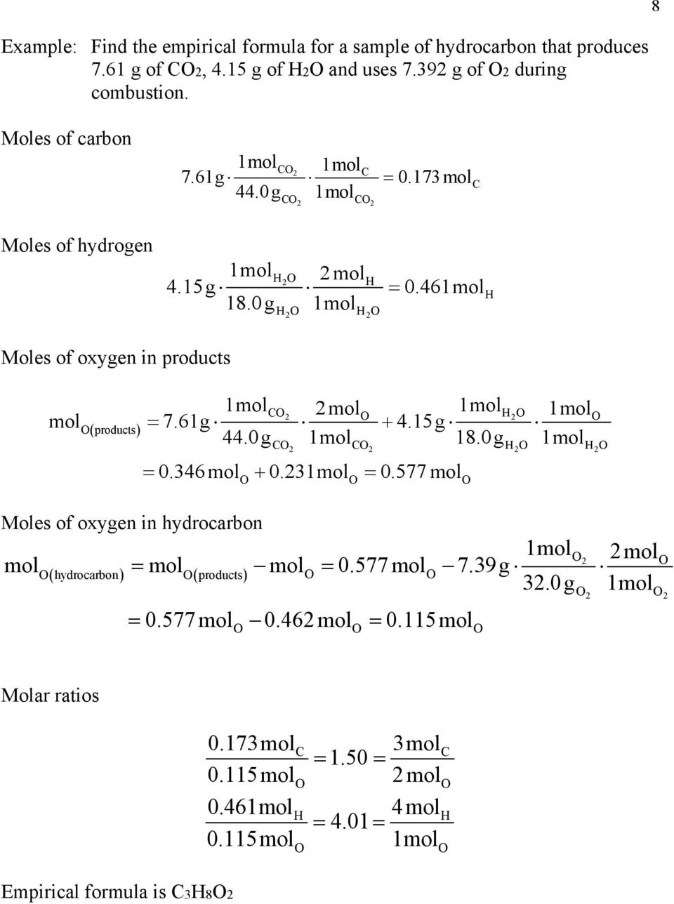 46 H H H Moles of oxygen in products C mol H mol products 7.61g 4.15g 44.0g 18.0g Moles of oxygen in hydrocarbon C C H H 0.346 mol 0.3 0.