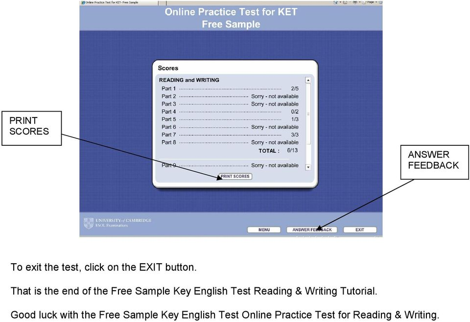 That is the end of the Free Sample Key English Test Reading