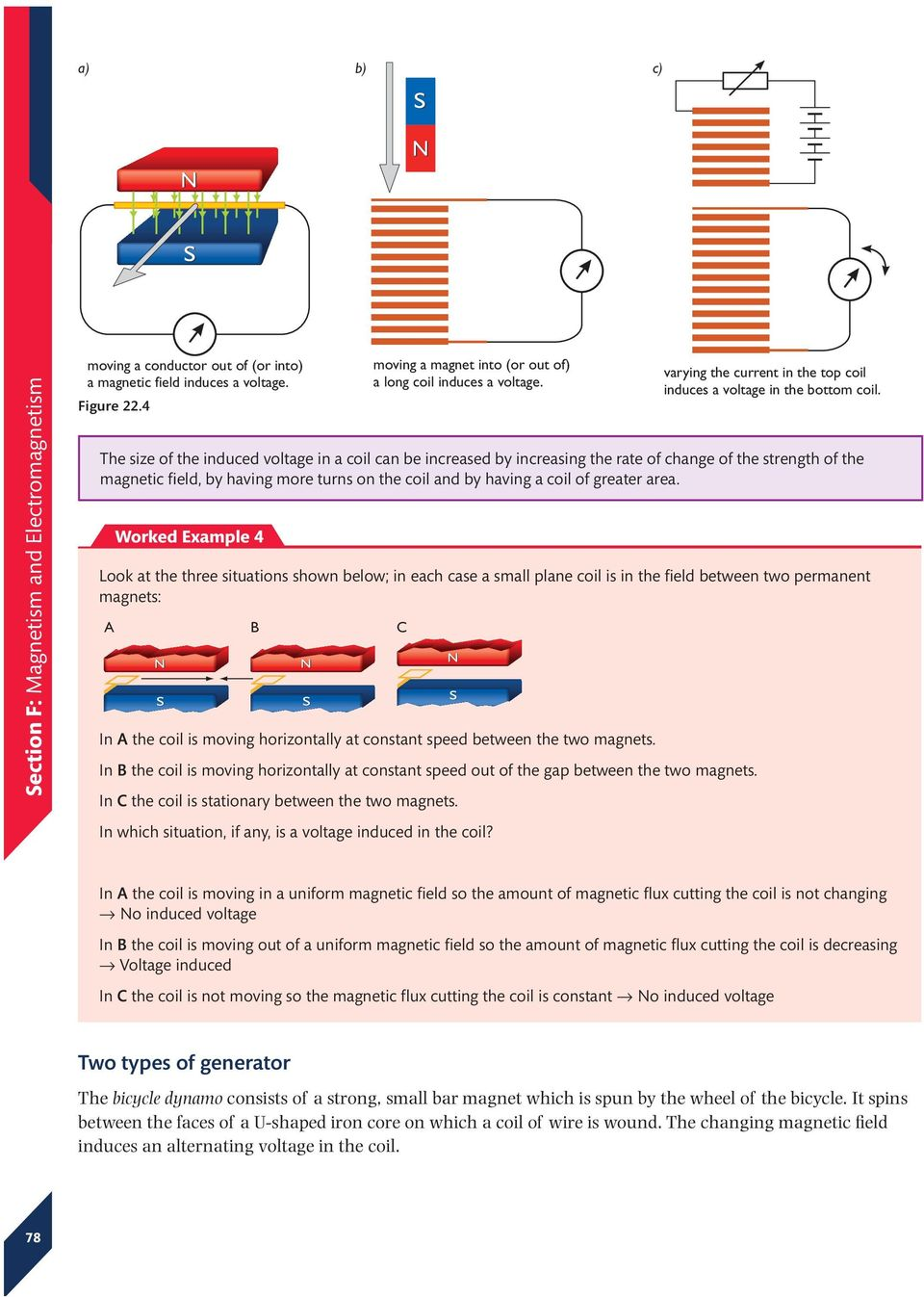 The size of the induced voltage in a coil can be increased by increasing the rate of change of the strength of the magnetic field, by having more turns on the coil and by having a coil of greater