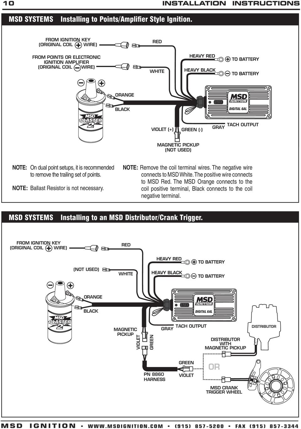 msd digital 6a and 6al ignition control 6a pn 6201 6al pn pdf points note ballast resistor is not necessary note remove the coil terminal