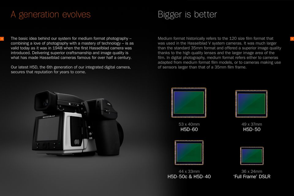 Medium format historically refers to the 120 size film format that was used in the Hasselblad V system cameras.