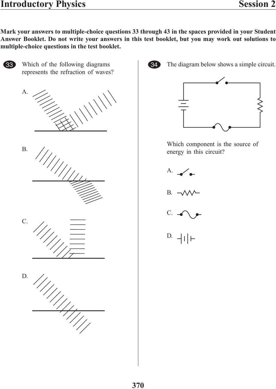 Xx Introductory Physics High School Pdf Circuit Diagram Test Questions Id781 Belrob101 Wave Diagramse B Common Eq 33 Which Of The Following Diagrams Represents