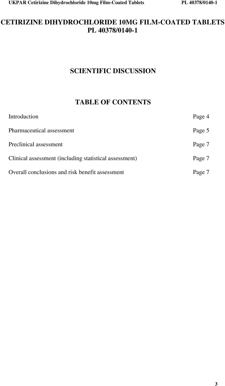 assessment Page 5 Preclinical assessment Page 7 Clinical assessment