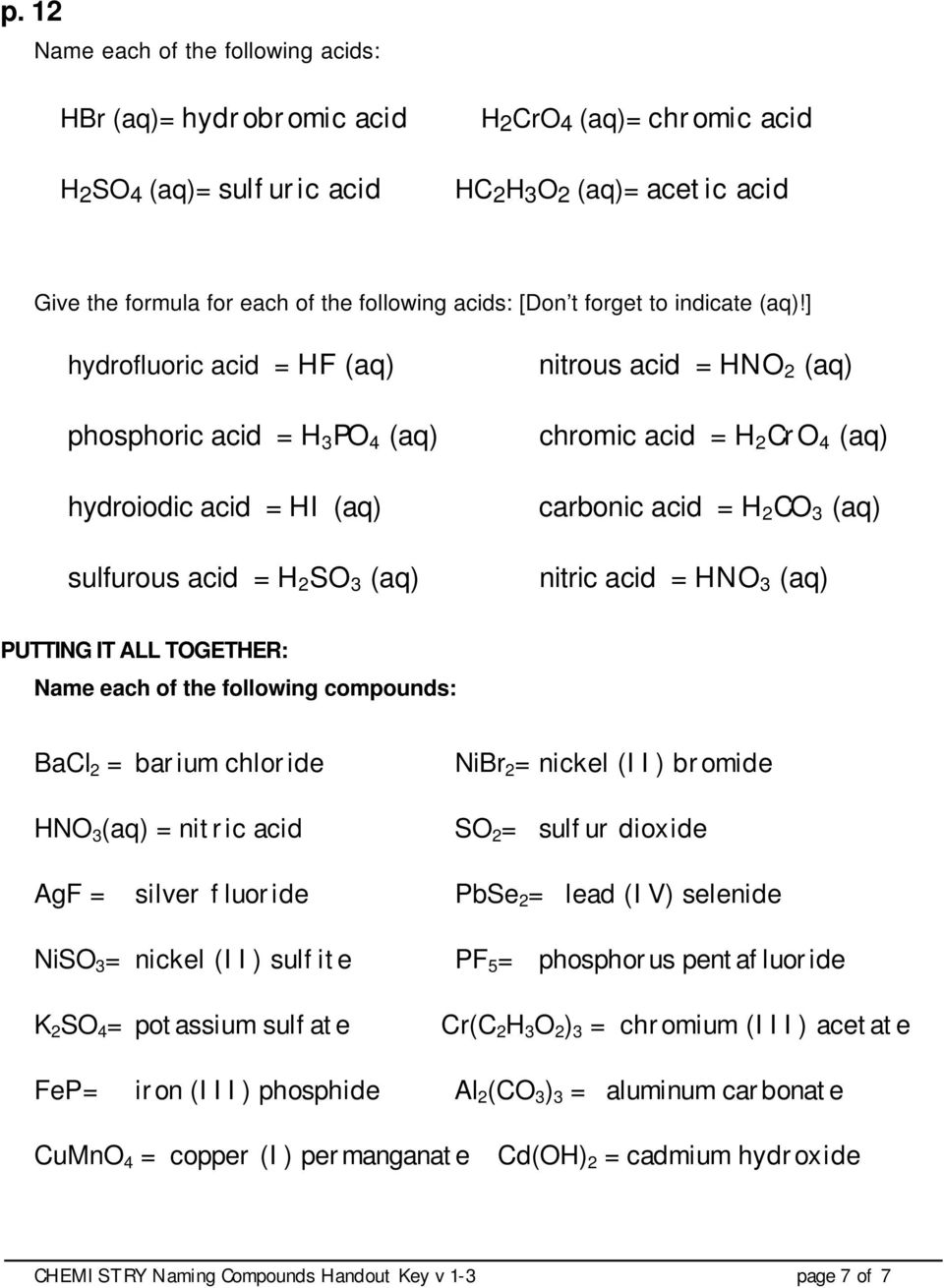 worksheet Naming Compounds And Writing Formulas Worksheet naming compounds handout key pdf hydrofluoric acid hf aq phosphoric h 3 po 4