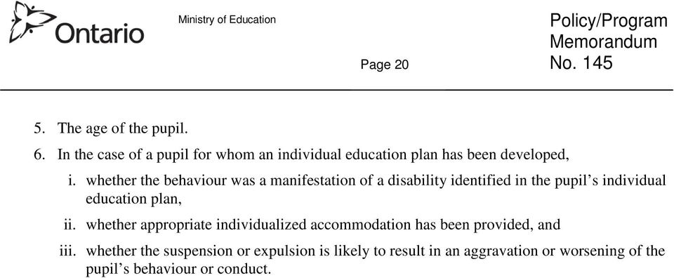 whether the behaviour was a manifestation of a disability identified in the pupil s individual education