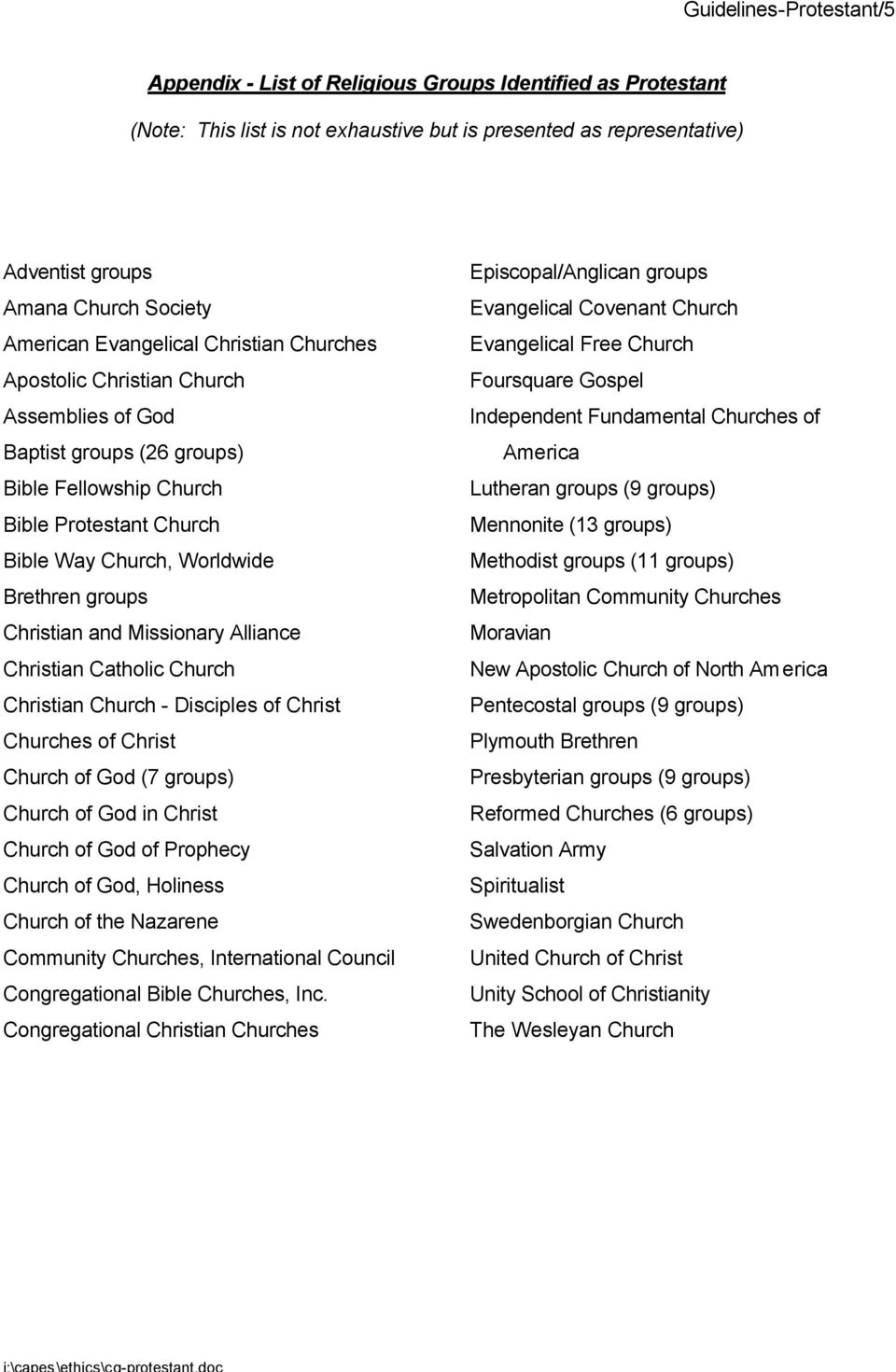 groups Christian and Missionary Alliance Christian Catholic Church Christian Church - Disciples of Christ Churches of Christ Church of God (7 groups) Church of God in Christ Church of God of Prophecy