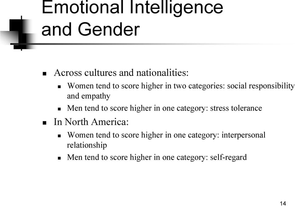 one category: stress tolerance In North America: Women tend to score higher in one