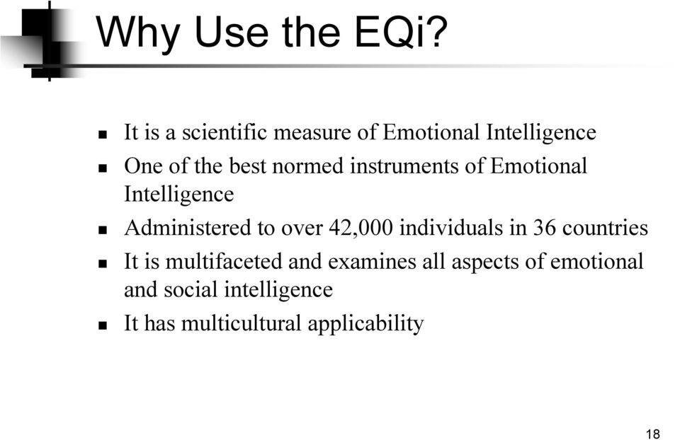 instruments of Emotional Intelligence Administered to over 42,000