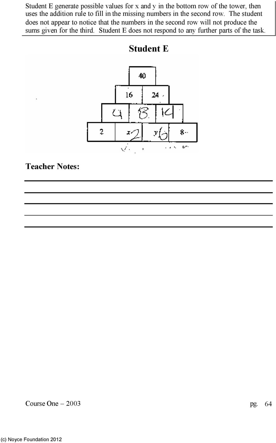 The student does not appear to notice that the numbers in the second row will not produce the