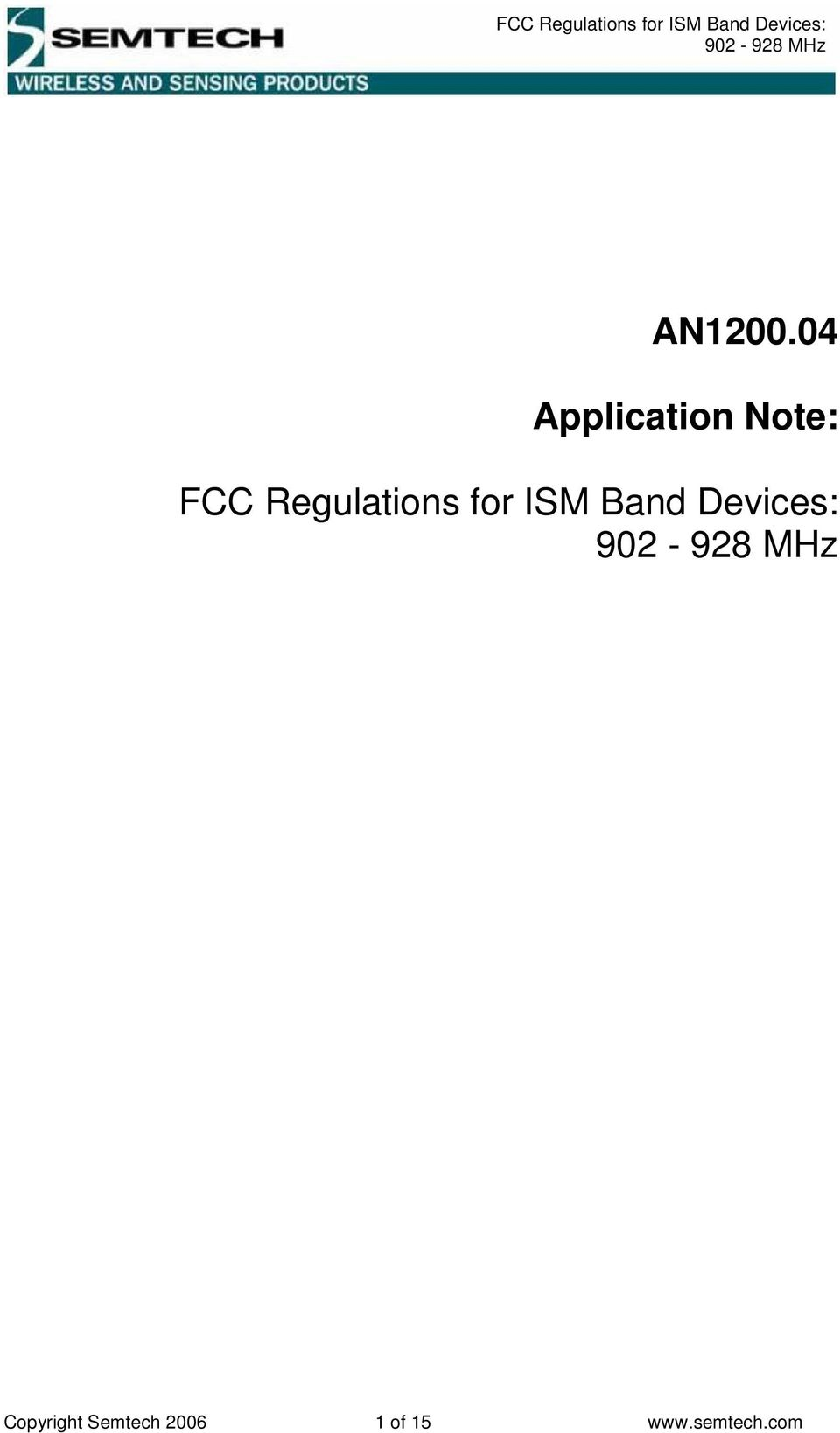 Regulations for ISM Band