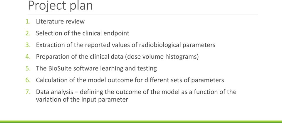 Preparation of the clinical data (dose volume histograms) 5.